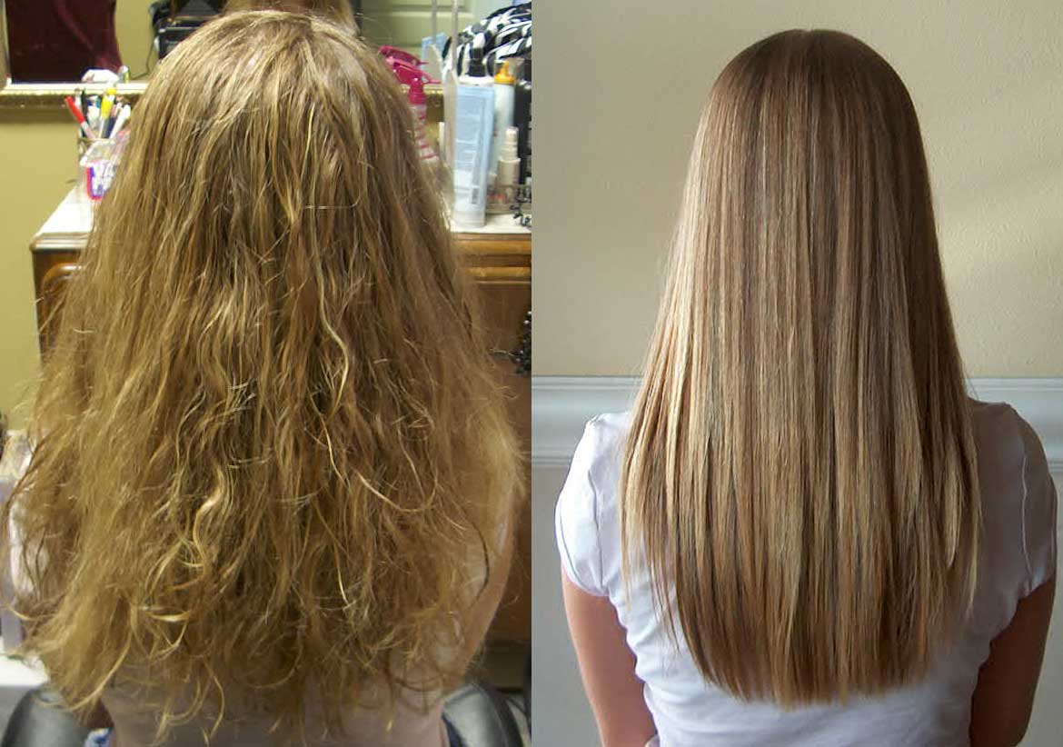 Hair Straightening Brush Before and After