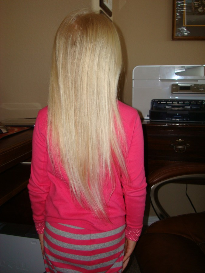 My Daughter's Hair after using the Hair Brush Straightener