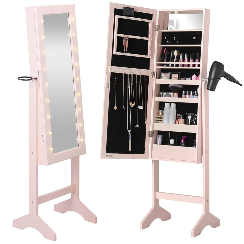 Mirrored Jewelry Armoire - Best Makeup Organizer