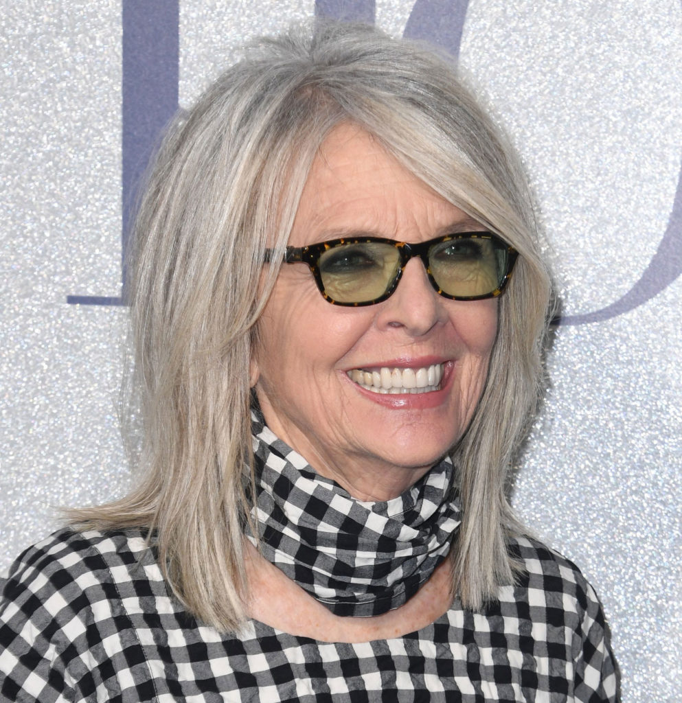 Diane Keaton With Gray Hair And Lovely Dimensions