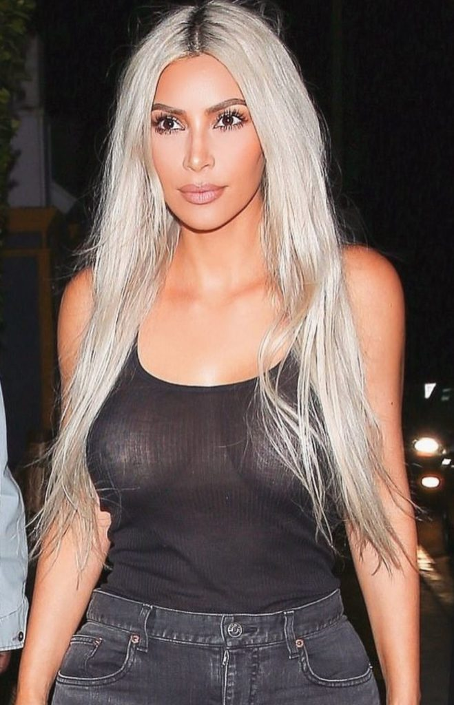 Kim Kardashian With Long Silver Gray Hair